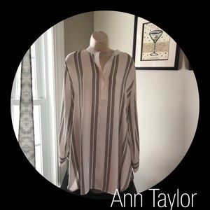 NWT - Ann Taylor Tunic ivory with black stripes